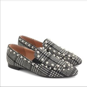 NWT J CREW PEARL AND PLAID LOAFER